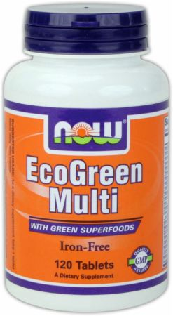 NOW, EcoGreen Multi Iron Free, 120 таблеток