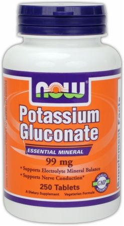 NOW, Potassium Gluconate, 250 таблеток