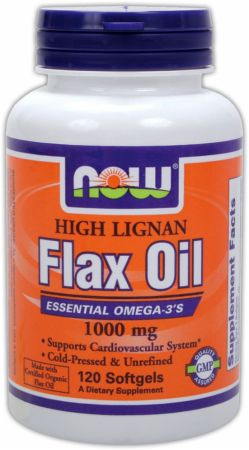 NOW, High Lignan Flax Oil, 1000мг/120 капсул