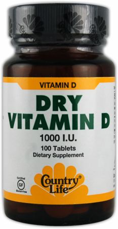 Country Life, Dry Vitamin D, 1000 ед./100 таблеток