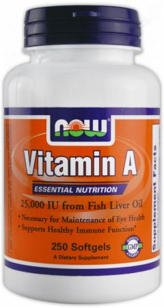 NOW, Vitamin A, 250 капсул