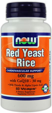 NOW, Red Yeast Rice With CoQ10, 60 капсул