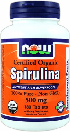 NOW, Spirulina, 100 таблеток
