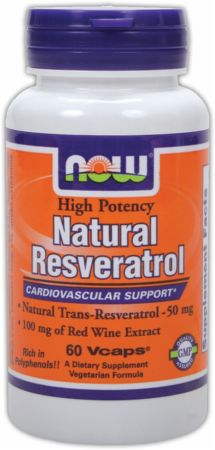 NOW, Natural Resveratrol, 60 капсул
