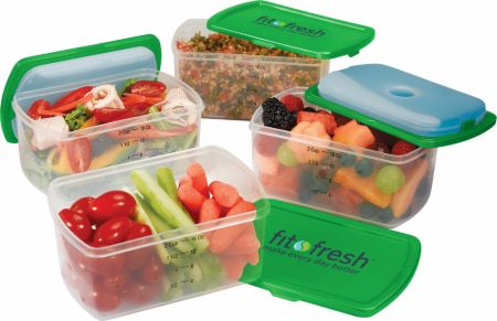 VitaMinder, Fit & Fresh Smart Portion Chill Containers, 4 шт
