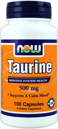 NOW, Taurine, 500мг/100 капсул