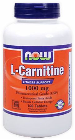 NOW, L-Carnitine Tablets, 1000мг/100 таблеток