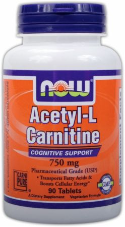 NOW, Acetyl L-Carnitine Tablets, 750мг/90 таблеток