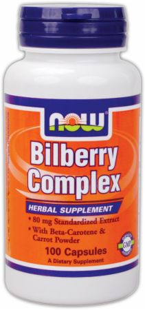 NOW, Bilberry Complex, 100 капсул