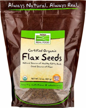 NOW, Flax Seeds - Certified Organic, 908 грамм