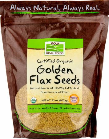 NOW, Golden Flax Seeds - Certified Organic, 908 грамм