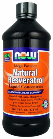 NOW, Natural Resveratrol Liquid Concentrate, 474 мл