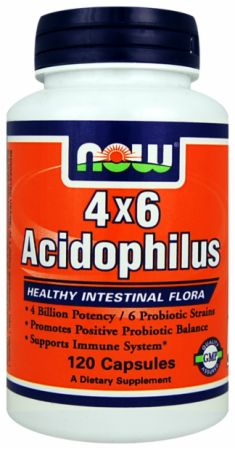 NOW, 4x6 Acidophilus, 120 капсул