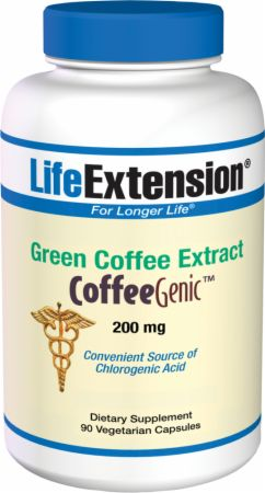 Life Extension, Green Coffee Extract, 200мг/90 капсул