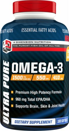 4 Dimension Nutrition, Ultra Pure Omega-3, 100 капсул