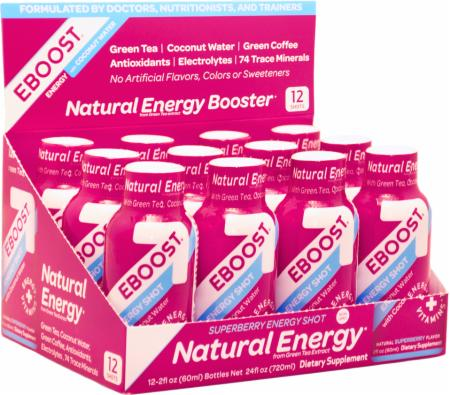 EBOOST, Natural Energy Shot, 12 бутылок по 60 мл